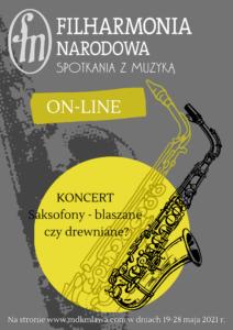 """Koncert online """"Saksofony- blaszane czy drewniane?"""