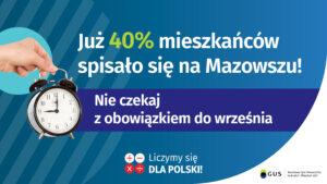 Półmetek spisu – zaczyna się wyścig z czasem. Już 40% mieszkańców spisało się na Mazowszu!
